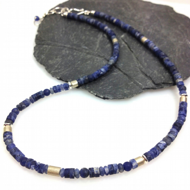 Silver and matte sodalite necklace