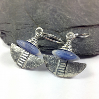 Silver and sodalite tribal blade earrings.