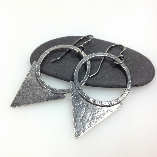 Oxidised silver tribal blade earrings