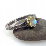 silver 18ct gold and faceted rainbow moonstone Relic ring