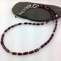 Silver and garnet necklace