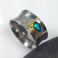 opal ring in sterling silver and 18ct gold