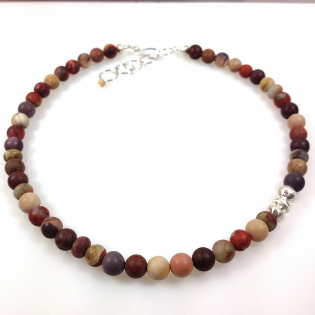 Silver and mookaite jasper necklace