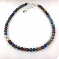 Silver and sunset dumortierite necklace