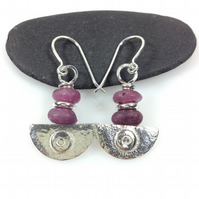 Ulu  , handmade silver and ruby earrings