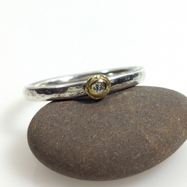 Diamond stackable ring in silver and 18ct gold UK Q