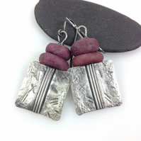 Silver and raw ruby Core earrings