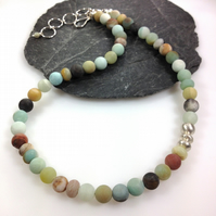 Chunky frosted amazonite and silver necklace