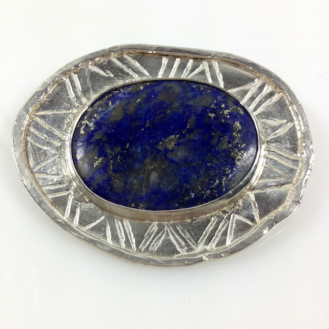 Large silver and lapis lazuli brooch