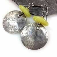 Large round oxidised silver and chartreuse stone earrings