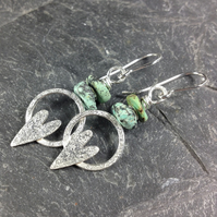 Silver heart earrings with African turquoise love tokens