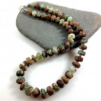 Earthy chrysoprase and silver necklace