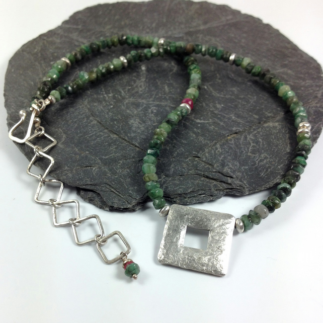 Silver emerald and ruby Quadrat necklace