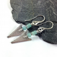 Silver and amazonite arrowhead earrings