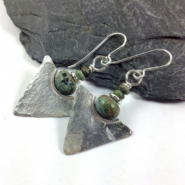 African turquoise and silver tribal earrings