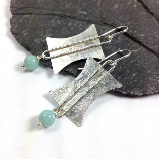 Silver Tribal earrings with blue amazonite stones
