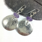 Large round silver and amethyst earrings