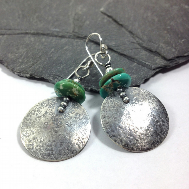 Large round silver and turquoise earrings