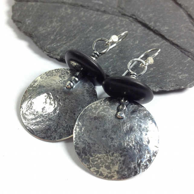 Large round silver and black onyx earrings