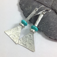 Long silver and turquoise tribal earrings
