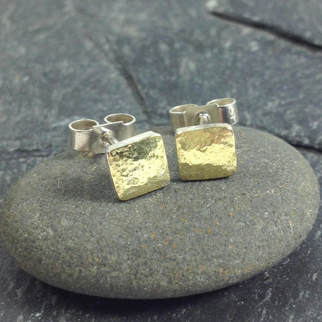 Tiny  square stud earrings gold and silver