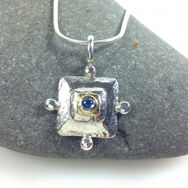 Silver gold and sapphire medieval style pendant and chain.