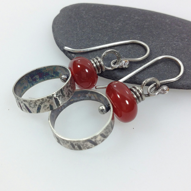 carnelian and oxidised silver earrings