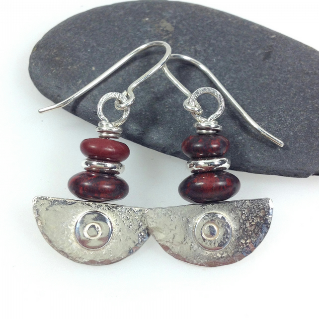 Ulu Earrings , handmade silver and red flame jasper drop earrings