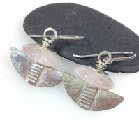 Silver and rose quartz tribal blade earrings.