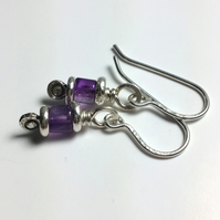 Reels  - silver and amethyst earrings