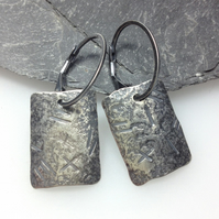 Silver earrings, oxidised rectangular earrings