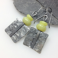 Silver and creamy yellow jade Core earrings