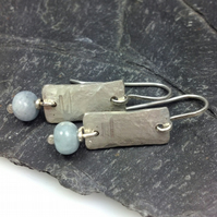Silver and aquamarine Notched earrings