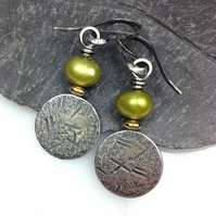 pearl silver and 18ct gold earrings chartreuse