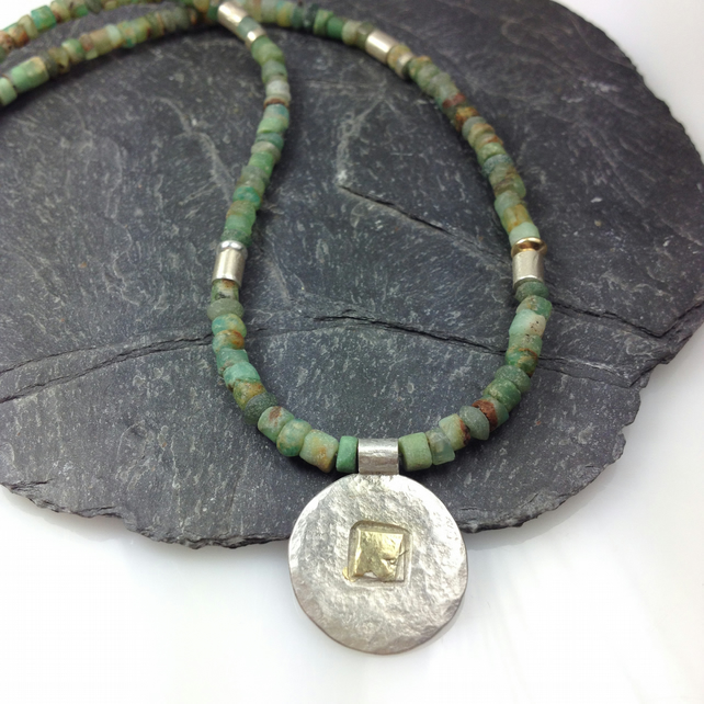 Silver 18ct gold and chrysoprase necklace