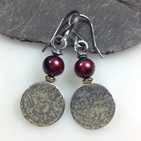 pearl silver and 18ct gold earrings claret