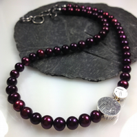 Burgundy Pearl Silver and 18ct gold necklace