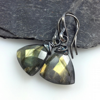Silver and golden labradorite trillion earrings