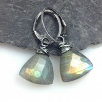 Silver and labradorite trillion earrings