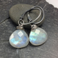Moonstone and oxidised silver wrapped earrings