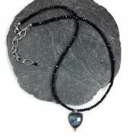Labradorite, black spinel and silver necklace