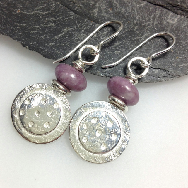 Silver Dotty Earrings with pinky purple lepidolite beads