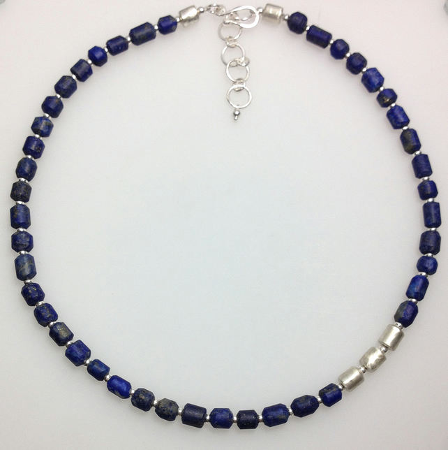 Silver and lapis lazuli bead necklace