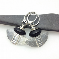 Silver and black onyx tribal blade earrings.