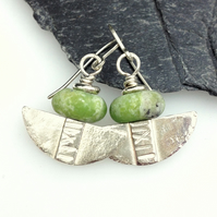 Silver and green serpentine tribal blade earrings.