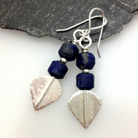 Silver and matte lapis lazuli leaf spear earrings