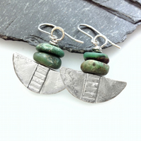 Silver and green chrysoprase tribal blade earrings.