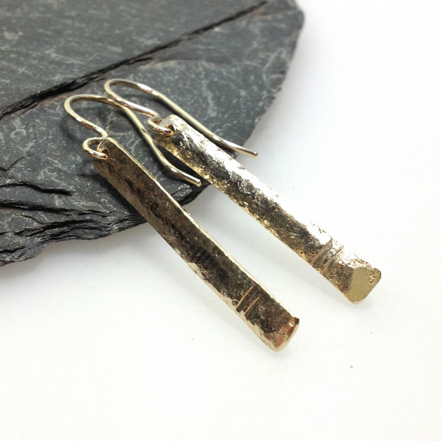 9ct gold Notched Pins dangly earrings