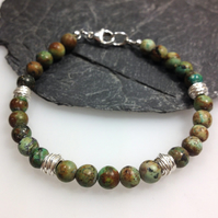 African turquoise and silver bracelet