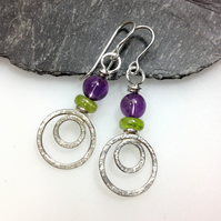 silver peacock earrings with amethyst and peridot